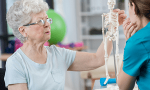 female patient discusses osteoporosis with her therapist while studying model skeleton