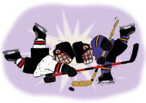 hockey players colliding