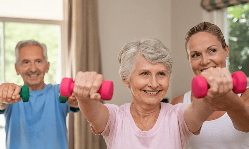 seniors exercising with physical therapist