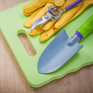 foam knee pad and gardening tools